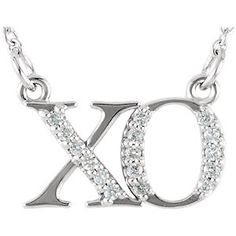 "14kt White ""XO"" Necklace Center Mounting 