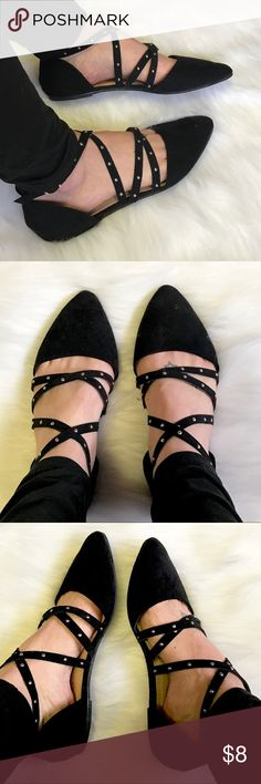 Black Suede Studded Shoes Revamped By Sirens Black Suede Studded Shoes Size 8! True to Size and in Great Condition. Revamped By: Siren Shoes