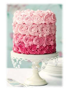 Fluffy Pink Ombre Frosting White Cake