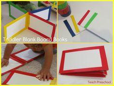 Toddler Blank Board Books from Teach Preschool:  Could be used as privacy shields for testing in the classroom.