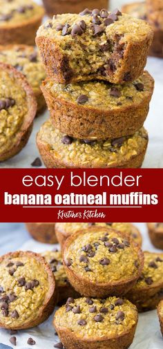 Recipes Snacks Muffins Easy Blender Banana Muffins with Chocolate Chips! Flourless, gluten free, dairy free, made with oats and banana. The best healthy muffins! These oatmeal muffins are so moist and perfect for toddler breakfasts. Banana Oatmeal Muffins, Banana Chocolate Chip Muffins, Chocolate Chips, Banana Breakfast Muffins, Banana Oats, Flourless Chocolate, Cake Chocolate, Banana Muffins Flourless, Breakfast Biscuits