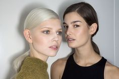 Jason Wu spring 2015 deep side parted, low ponytail with wavy ends | allure.com