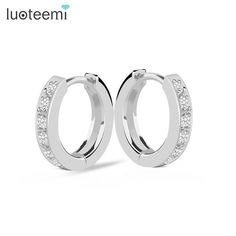 LUOTEEMI  Brand Zircon Stone Hoop Earrings for Women AAA Cubic Zirconia Hoop Earrings Jewelry Rhodium Plated High Quality