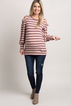 14c1894f52 Burgundy Striped Ruffle Cold Shoulder Top Maternity Shirts