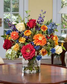 Colorful Handfrafted Silk Flower Centerpiece   Decorative Faux Arrangement for Your Home
