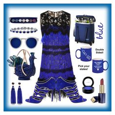 """blue"" by priyaarun ❤ liked on Polyvore featuring Oscar de la Renta, Sergio Rossi, Kate Spade, Illesteva, Kenneth Jay Lane, Givenchy, Estée Lauder, Crate and Barrel and MAC Cosmetics"