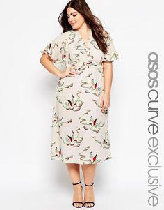 ASOS Curve | ASOS CURVE Midi Dress in Bird Print at ASOS