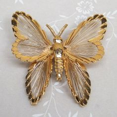 Vintage gold Butterfly brooch from 1960s or 1970s by GemsByBren, $18.00