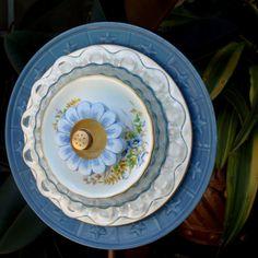 BlueYellow Stars Repurpose Glass Plate Flower by ARTfulSalvage, $40.00