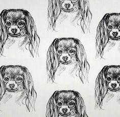 Phalene Papillon Puppy Hot Diggity Dog Fabrics Novelty Fabric by HotDiggityDogFabrics on Etsy
