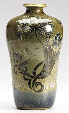RIESSNER, STELLMACHER & KESSEL; Glazed and enameled Amphora porcelain portrait vase with maiden and blossoms; Stamped TURN-TEPLITZ BOHEMIA, RSTK; 9'' x 5''