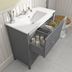 The Bath Co. Camberley satin grey vanity unit with basin Bathroom Sink Units, Sink Vanity Unit, Vanity Basin, White Vanity Unit, Gray Vanity, Grey Bathrooms, Small Bathroom, Bathroom Ideas, Family Bathroom