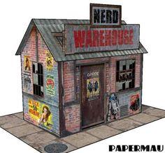 Nerd Warehouse Free Building Paper Model Download - http://www.papercraftsquare.com/nerd-warehouse-free-building-paper-model-download.html