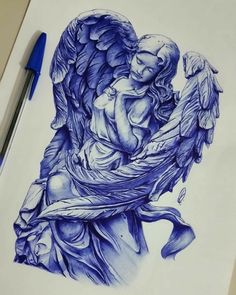 Tattoo Sketches, Art Sketches, Art Drawings, Religious Tattoos, Religious Art, Angel Drawing, Angel Tattoo Drawings, Ballpoint Pen Art, Chicano Art