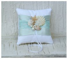 Beach Ring Bearer Pillow. Ring Pillow. Aquamarine by IrenDesigns, €27.00