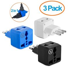 Yubi Power 2 in 1 Universal Travel Adapter with 2 Universal Outlets  Built in Surge Protector  3 Pack  Black White Blue  Type L for Chile Ethiopia Italy Lybia Syria Tunisia  Uruguay >>> Be sure to check out this awesome product.