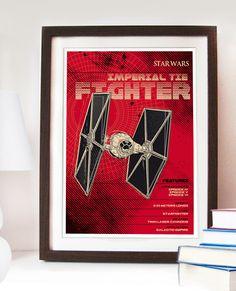 Star Wars Imperial Tie Fighter Poster - Digital Print A3 A2 A1 Fan Art artwork. #starwars #tiefighter #spaceship #geek #homedecor #wallart #fanart #empire #jedi #starwarsart #illustration