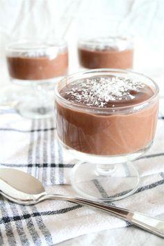 Chocolate Coconut Pudding  1 can coconut milk*  3 ½ cups cold almond milk  7 tbsp. cornstarch  9 tbsp. dark cocoa  ½ cup organic sugar (change)  2 teaspoons vanilla extract  Pinch of sea salt