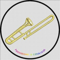 MOTIF BRODERIE TROMBONE A COULISSE  1.10€
