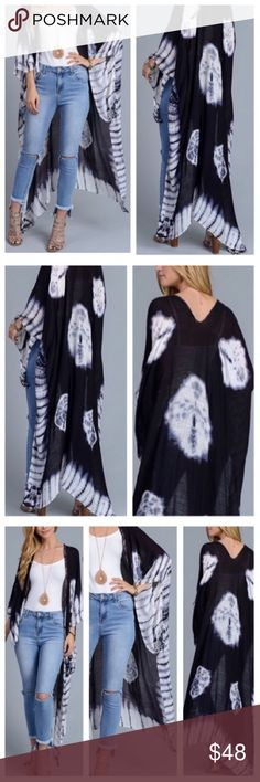 "Kimono Tie-dye BoHo Chic Kimono Wrap Shall CoverUp The perfect go-to piece for any ""it girl's"" closet! Can easily be dressed up or down, to the beach, out with the girls, running errands, vacation, etc. Super light weight material, perfect to wear still in the beat of summer. Has beautiful butterfly wings. Flows open out the sides, slits up the bottom back side (all shown in pics) ❤️PRICE IS FIRM❤️ NO TRADES❤️POSH ONLY❤️ Other"