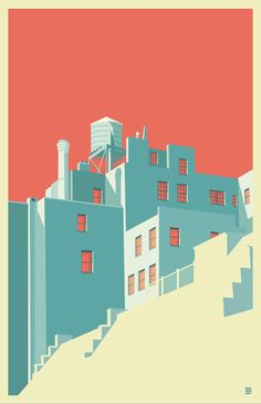 implied stairs, reducing focus on unnecessary elements The Village NYC // on Behance // by Remko Heemskerk
