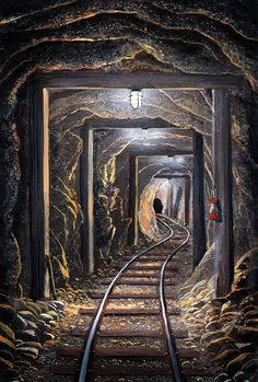 Mine Shaft Mural Painting by Frank Wilson