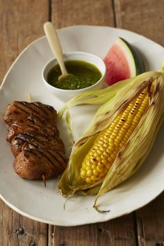 Chile Pork Kebabs with Pesto Corn and Watermelon #myplate #pork