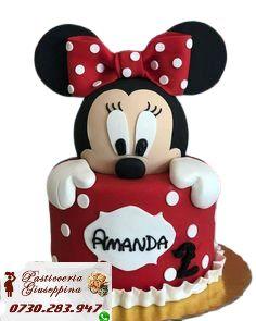 Tort de la Cofetăria Pasticceria Giuseppina Comanda direct pe WhatsApp : 0730283947 #cofetarie #unirii #victoriei Marzipan, Minnie Mouse, Disney Characters, Disney Face Characters, Gum Paste