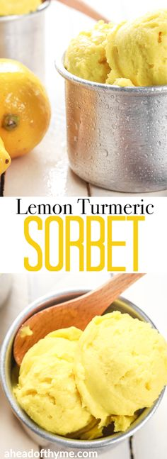 Grab a few easy ingredients, throw them in the blender and in a fews hours, a refreshing and unbelievably healthy lemon turmeric sorbet will be all set and ready for digging in! Köstliche Desserts, Frozen Desserts, Frozen Treats, Healthy Desserts, Delicious Desserts, Dessert Recipes, Yummy Food, Paleo Dessert, Healthy Food