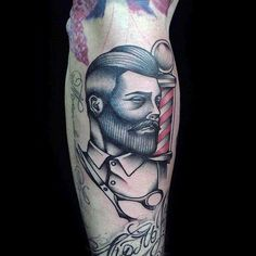 Shaded Barber Guys Tattoo On Bicep