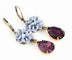 Flower Jewel Earrings, Grey Flower and Plum Jewel Elegant Earrings on Etsy, $23.33 CAD