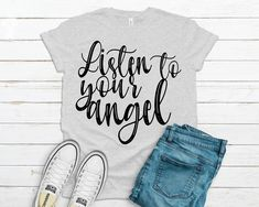 Listen to your Angel Svg, Angel Svg, Saying Svg file for Cricut, Cricut Designs, Happy Svg, Instant Download, Image transfer Svg Angel Silhouette, T Shirt Transfers, Christmas Ornaments To Make, Silhouette Designer Edition, Listening To You, Svg Files For Cricut, Cricut Design, Cutting Files, To My Daughter