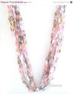 ON SALE Bead Crochet Necklace Ladder Yarn by MoomettesCrochet, $12.80