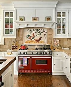 """The Tan tiles & counter top w/white cabinets look nice.  I would have a cobalt blue stove and go for a pot filler on the wall.  That is kitchen """"art""""!"""
