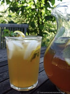 Lemon-Mint Sun Tea  Syrup: .5 c honey, .5 c water  Tea: 3/4 c peppermint leaves, lightly crushed, 1/2 c lemon balm leaves, lightly crushed, 3–4  sliced lemons, 5 bags black tea, 1 gallon pitcher & water  Toss peppermint, lemon & lemon balm into empty 1 gallon, pitcher. In pan, 1/2 c honey & 1/2 cup water boil over medium high heat while stirring. Remove slowly pour syrup into pitcher, coating herbs. Tie tea to dangle into pitcher. fill with cold water,stir. Set outside, full sun for 2-4…