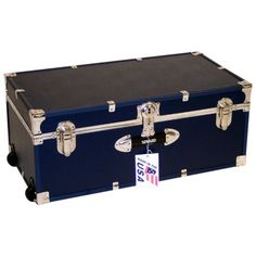 Locking Trunk with Wheels-Navy by Mercury Luggage. $99.98. 2 recessed wheels and 2 plastic handles. .25-inch fiberboard covered in heavy gauge vinyl. Easy-open push-button key lock. Navy exterior with color coordinated high impact styrene binding. Interior is unlined, no tray included. The Mercury Luggage Locking Trunk with Wheels - Navy is the best way to shelter and move your favorite items while adding a touch of colorful style to your luggage collection. Const...