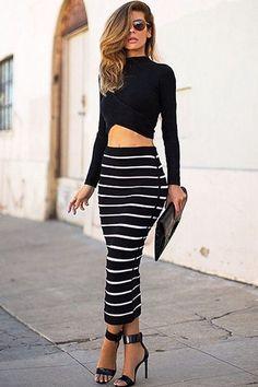 Sexy Women Two-piece Striped Bandage Dress