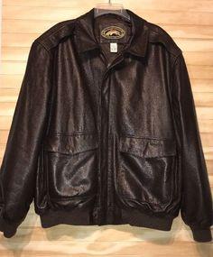 Orvis Company Fly Fishing School Leather Jacket Sz XL Brown  #Orvis #BasicJacket