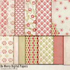 INSTANT DOWNLOAD - Digital Papers - Be Merry. Perfect for blog background, card making and much more.