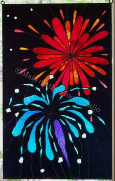 Fireworks stained glass panel - Maid on the Moon Studio