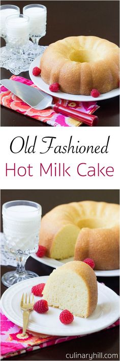 Old Fashioned Hot Milk Cake is a light and fluffy vanilla cake. This Depression-… Old Fashioned Hot Milk Cake is a light and fluffy vanilla cake. Made from simple ingredients, this Depression Era treat is perfectly sweet, even if it's simply served. Just Desserts, Delicious Desserts, Dessert Recipes, Yummy Food, Fluffy Vanilla Cake Recipe, Vanilla Bundt Cake Recipes, Wacky Cake Recipe, Pound Cake Recipes, Milk Recipes