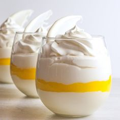 Individual Lemon Meringue Mousse cups have the taste of Lemon Meringue Pie without the work. Also deliciously gluten free!