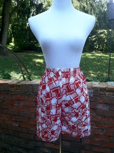 Vintage Red and White High Waist Wide Leg Short by PDeeVintage, $5.65