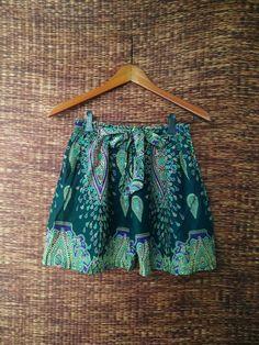 Green High waisted Shorts Paisley Boho print by TribalSpiritShop