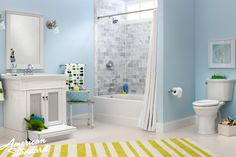 Combine the American Standard Champion® PRO® Right Height Elongated Toilet, the Portsmouth® Vanity with child step and the Princeton® Americast Bath to create this authentic and eccentric space that both children and adults will adore. Add A Bathroom, Bathroom Vanities Without Tops, White Vanity Bathroom, Bathroom Vanity Cabinets, Bathroom Renos, Bathroom Colors, Bathroom Renovations, Bathroom Ideas, Bath Ideas