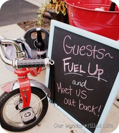 """Adorable. """"Fuel up and meet us out back"""". So cute! Tricycle Party - Kara's Party Ideas"""