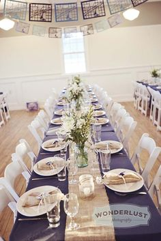 Burlap table runner ~ rustic nautical wedding reception table decor exactly what i want!