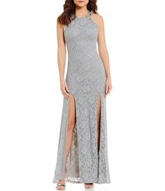 Jodi Kristopher High Neck GlitterAccented OpenBack Long Lace Dress #Dillards