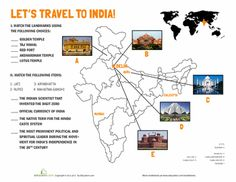 Fifth Grade Geography Worksheets: India Landmarks Geography Worksheets, Social Studies Worksheets, Teaching Geography, World Geography, India For Kids, History Of India, India Culture, Thinking Day, English Lessons
