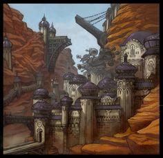 Kingdom of Amalur has beautiful background concept art.